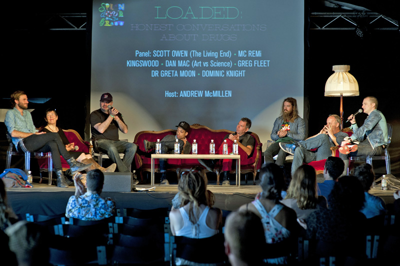 'Loaded: Honest Conversations About Drugs' panel at Splendour in the Grass Forum 2014, hosted by Andrew McMillen. Photo by Marc Grimwade